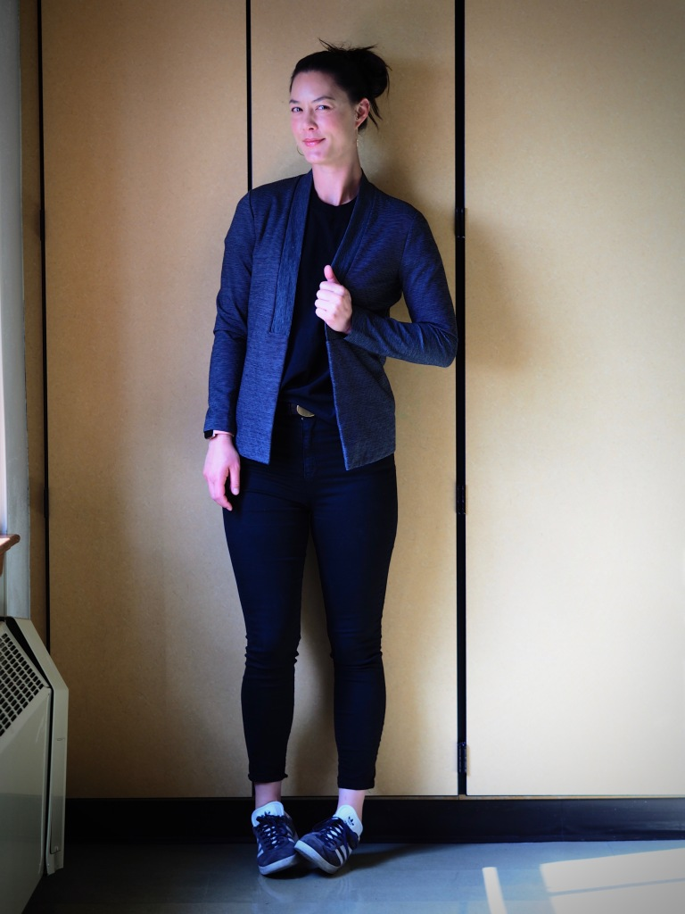 d735546c0b2 I smarted up the t-shirt for work with a stretchy ath-leisure style blazer  and hoop earrings. All together a really easy outfit to throw together for  a work ...